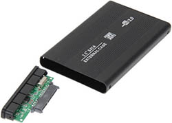 "USB 2.0 BOX for 2,5"" HDD SATA (black, metall)"