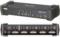 KVM Switch ATEN CS-1764 (4 port USB, DVI, Sound + кабели)